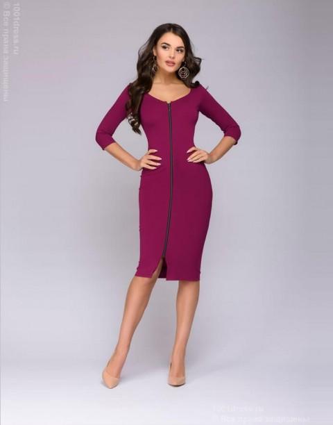 Платье-футляр с молнией спереди