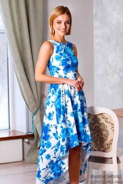 Разноуровневое платье с синими цветами