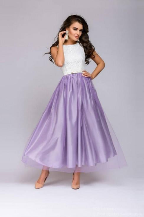 Платье в пол с юбкой из сетки