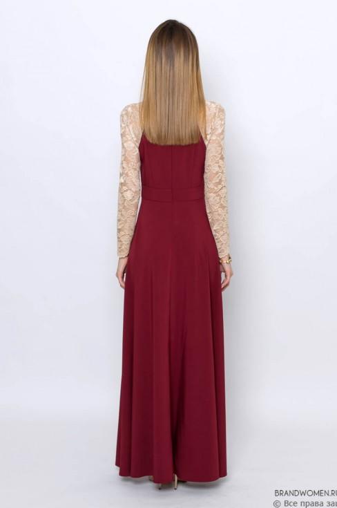 Платье-макси с кружевными рукавами