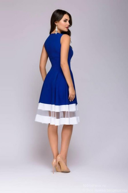 Платье миди с фатиновыми вставками