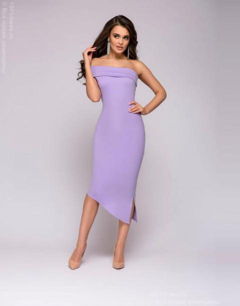 Сиреневое платье-футляр с открытыми плечами