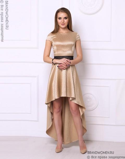 Разноуровневое платье золотистого цвета