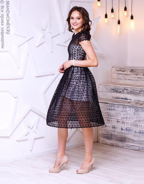 Кружевное платье длины миди с открытой спиной