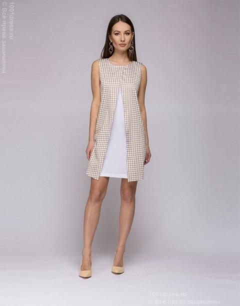 Платье длины мини с имитацией жакета