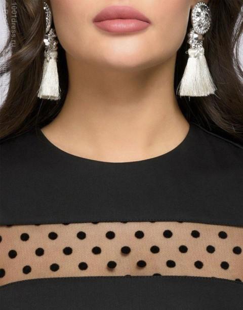 Платье-футляр с вставками из сетки