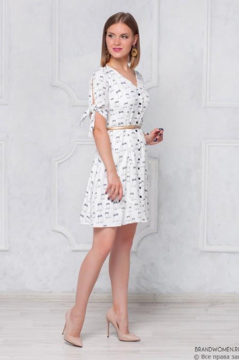 Платье длины мини с завязками на рукавах