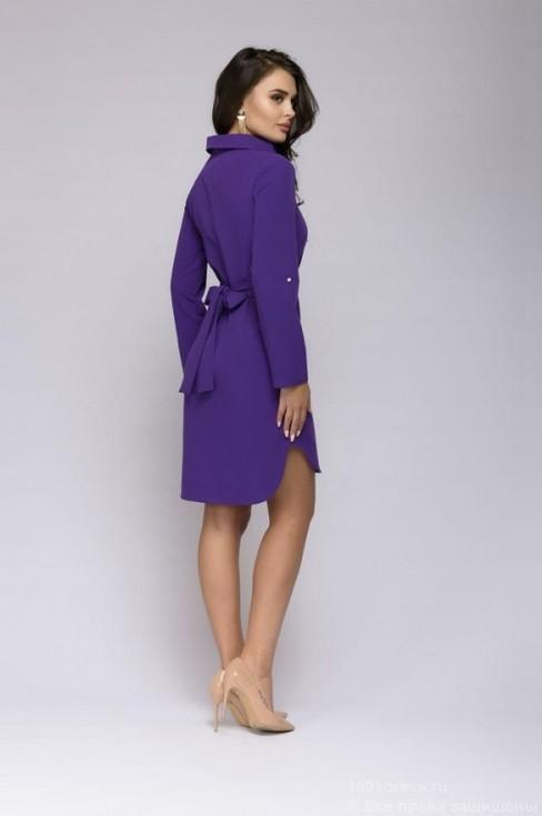 Платье-мини с отложным воротником