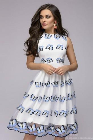 """Белое платье с вышивкой """"бабочки"""""""