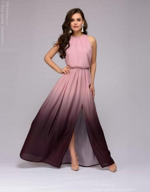 Платье в пол с разрезом