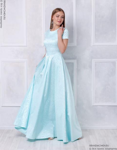 Платье-макси из жаккарда