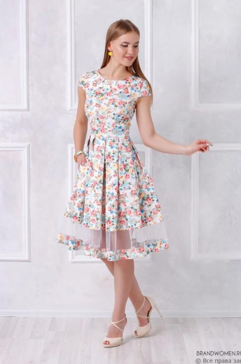 Платье-миди со вставкой из сетки