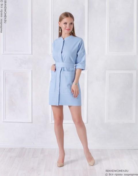 Джинсовое платье рубашка с карманами