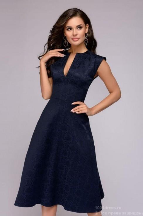 Платье-миди из жаккарда