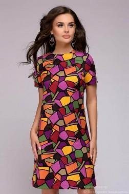 Платье трапеция с крупным принтом