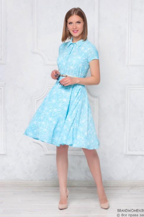 Платье-рубашка длины миди с принтом