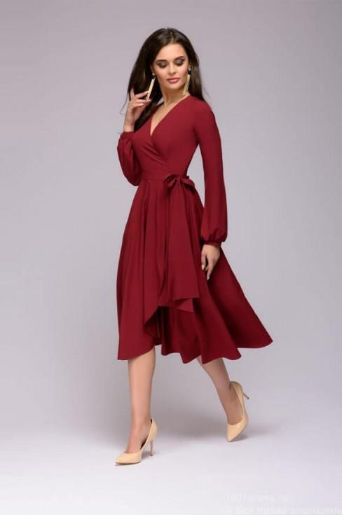 Бордовое платье-миди с эффектом запаха