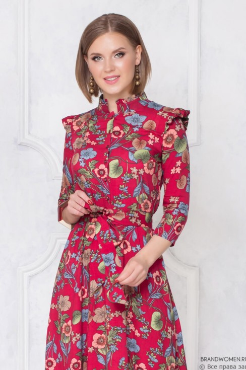 Платье-миди с цветочным принтом