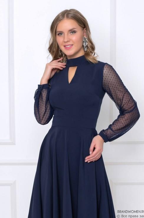Платье-мини с фатиновыми рукавами