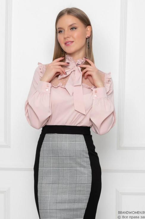 Блуза с бантом и вставкой из сетки