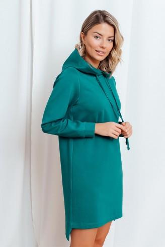 Платье-худи с капюшоном и длинными рукавами