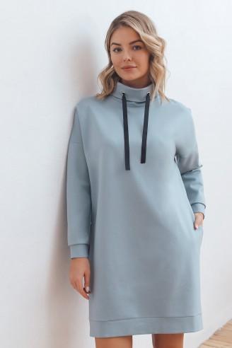 Платье-худи длины мини с карманами