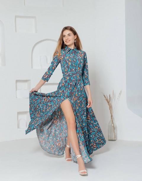 Платье на пуговицах длины макси с поясом