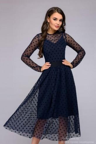 Двухслойное платье длины миди