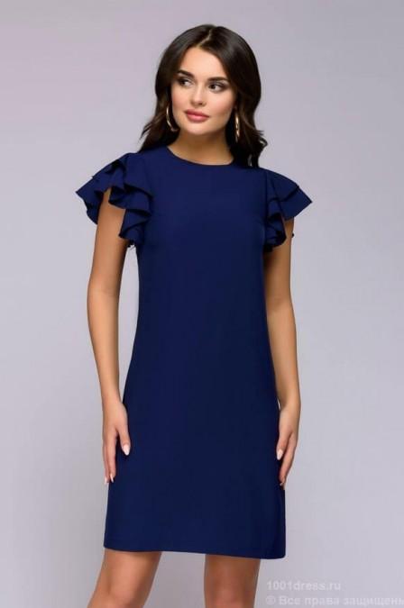 Синее платье с рукавами-крылышками
