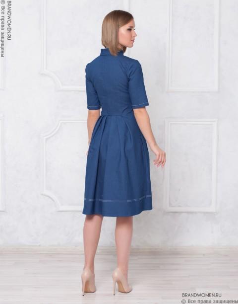 Платье-миди с отстрочкой и поясом-кушак