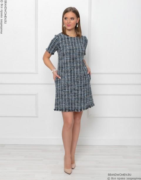 Платье-мини из твида с бахромой