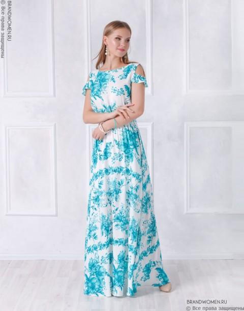 Белое платье-макси с воланами на плечах