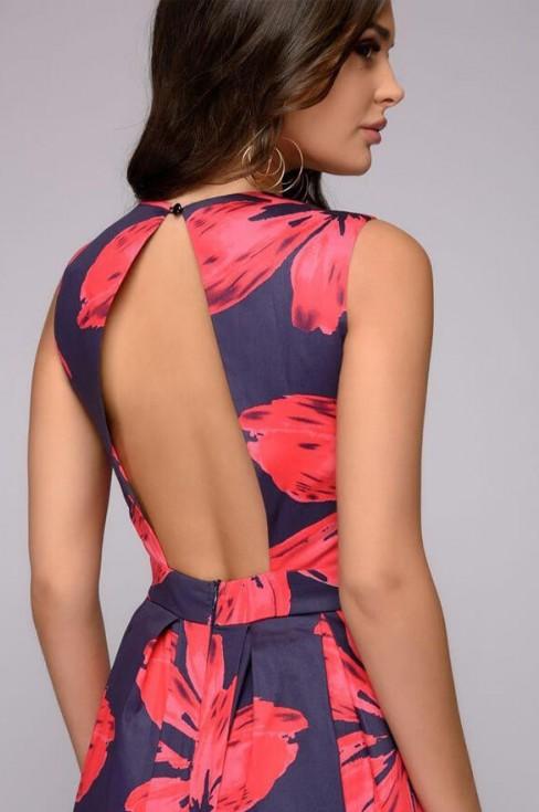 Платье-миди с цветами и открытой спиной
