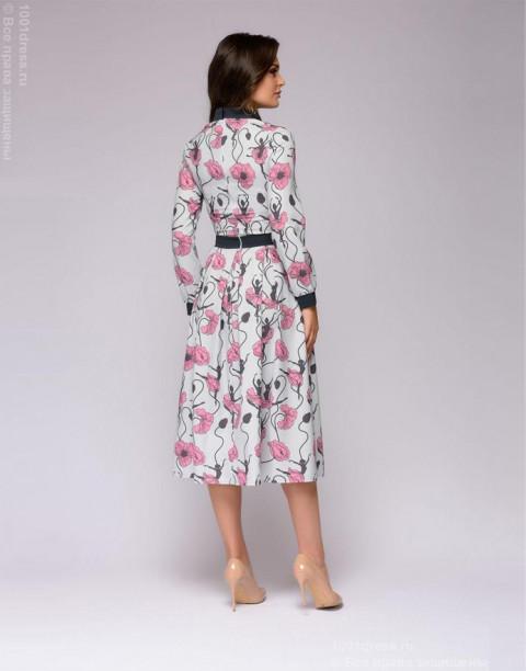 Платье-миди светло-серое с принтом