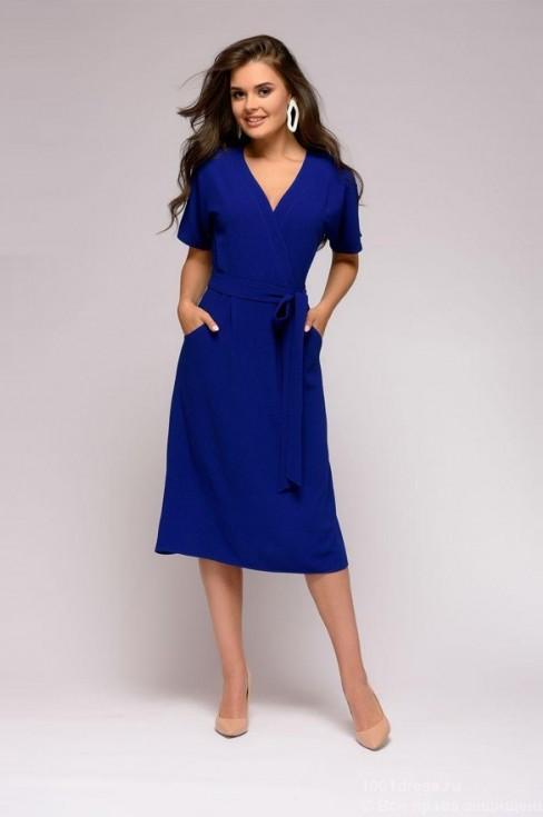 Платье длины миди с имитацией запаха