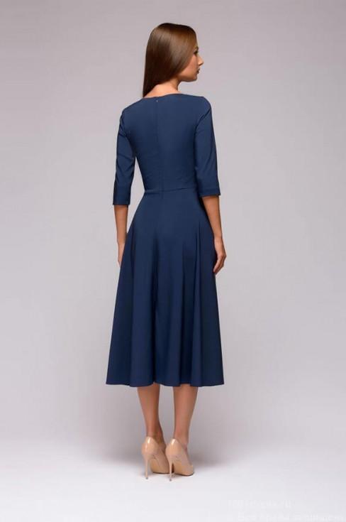 Платье-миди с кружевной вставкой