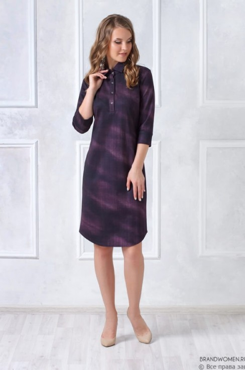 Платье-рубашка длины миди