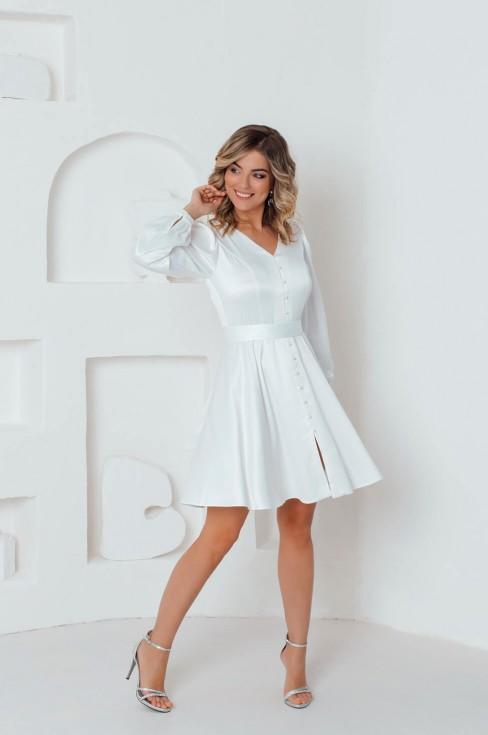 Платье-мини с жемчужными пуговицами