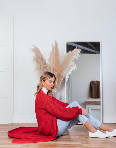 Кардиган из вязаного трикотажа с поясом