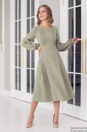 Платье-миди с декоративной застрочкой