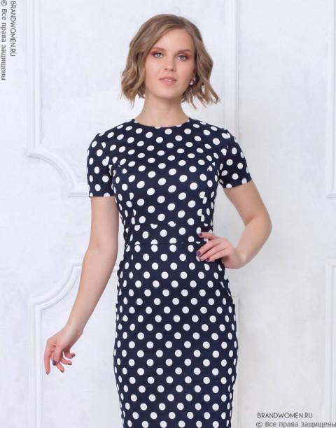 Хлопковое платье-футляр с принтом