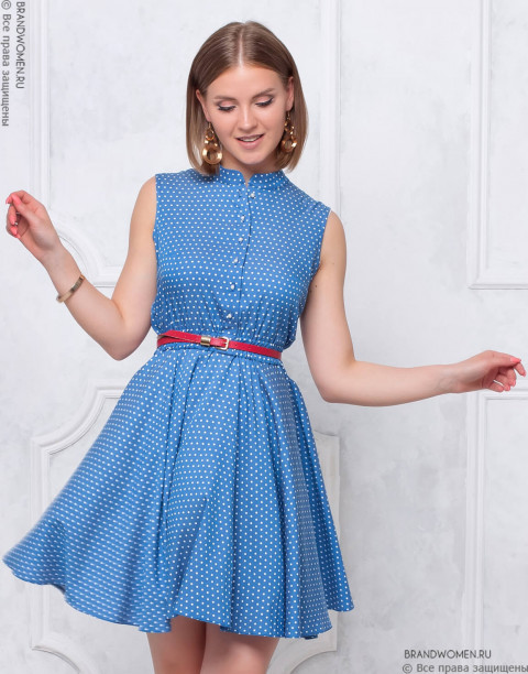 Платье-мини с юбкой солнце без рукавов