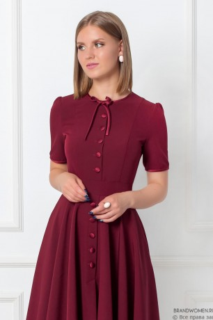 Платье-мини с пуговицами и бантиком на вороте