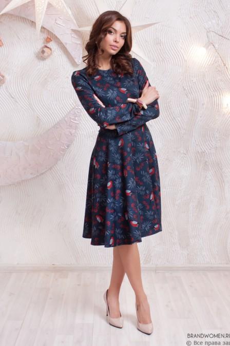 Платье-миди с длинными рукавами и принтом