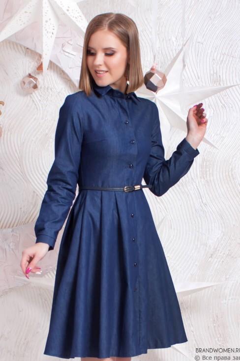 Джинсовое платье-мини на пуговицах