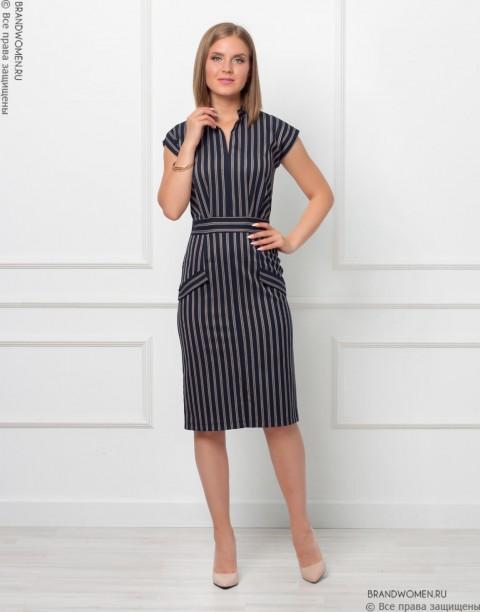 Платье-футляр с воротником-стойка