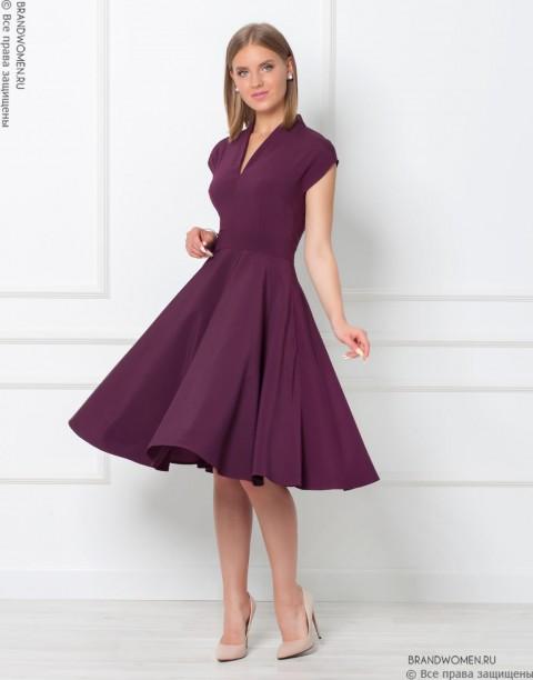 Платье длины миди с V-образным вырезом