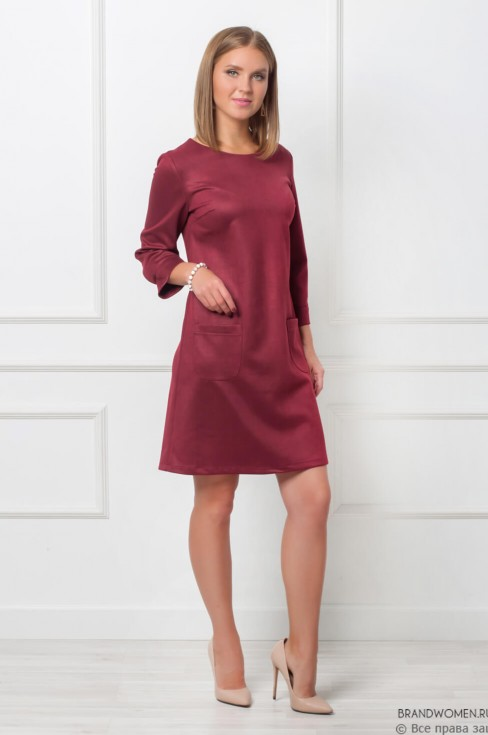 Платье-мини А-силуэта с карманами