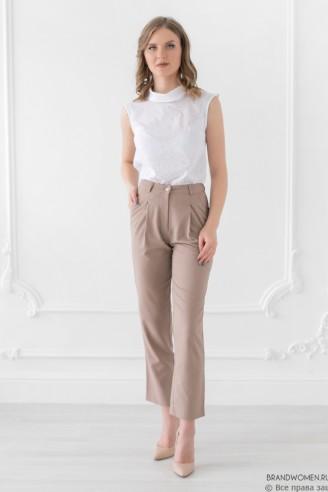 Льняные укороченные брюки с карманами