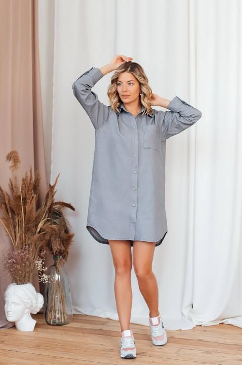 Джинсовое платье-рубашка свободного кроя